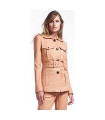 jaqueta de algodão com cinto e bolsos laranja bronze - 44