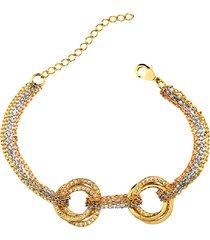 pulseira maxi elos cravejados banhado ouro misto