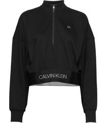 1/4 zip pullover sweat-shirt tröja svart calvin klein performance