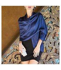 silk shawl, 'shimmering indigo' (thailand)