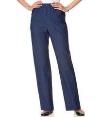 alfred dunner classics denim pull-on straight-leg pants