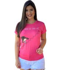 blusa t-shirt silk um passo de cada vez rosa pink - pink/rosa - feminino - dafiti