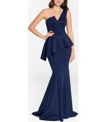 betsy & adam one-shoulder peplum gown & face mask