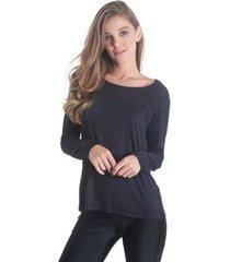 blusa manga longa detalhe transpassado costas soft feminina - feminino