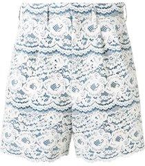 junya watanabe floral lace shorts - blue
