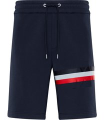 men's moncler logo embossed stripe french terry bermuda sweat shorts, size large - blue