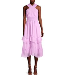 betsey johnson women's shadow stripe midi dress - lupine - size xl