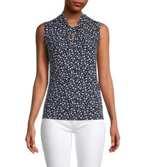 tommy hilfiger women's pysp knotted floral top - midnight ivory - size xs