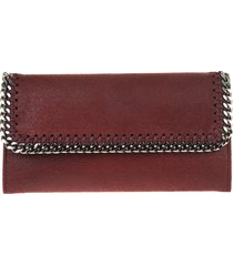stella mccartney wine red and silver continental falabella wallet
