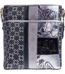balde juliana mediano con bolsillo negro plata primario borboletras