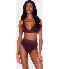 womens mouth off bralette and high-leg panty set - chestnut