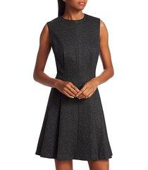 theory women's sleeveless sparkle seamed a-line dress - charcoal - size 12