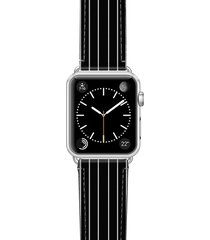 casetify black stripe saffiano faux leather apple watch strap