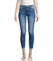 flying monkey women's mid-rise cropped raw-hem skinny jeans - blue - size 30 (8-10)