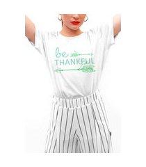 camiseta feminina mirat be thankful branca