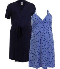 jogo de camisola amamentação plus size com robe e regulagem luna cuore