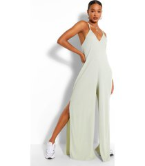 ribbed strappy oversized split leg jumpsuit, sage