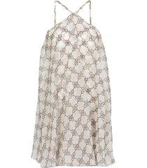 elisabetta franchi criss-crossed dress wirth iconic print