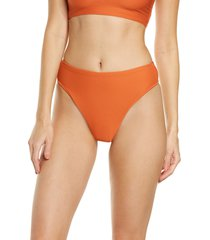 women's seafolly essentials high waist bikini bottoms, size 10 us - orange