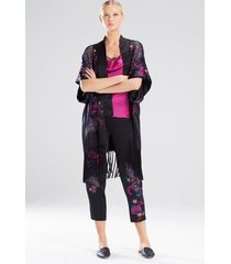 nouveau embroidery wrap pajamas, women's, black, 100% silk, size xl, josie natori
