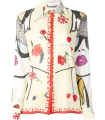 ermanno scervino patch-work print shirt - yellow
