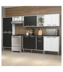 cozinha completa compacta c/ armário e balcáo c/ tampo 6 pçs xangai jazz multimóveis branca/preta