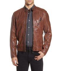 men's belstaff v racer leather jacket, size 42 us / 52 eu - brown