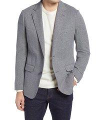 men's bonobos jetsetter slim fit knit cotton sport coat, size 42 long - grey
