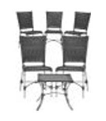 jogo cadeiras 5un e mesa de centro romenia para edicula jardim area varanda descanso - preto