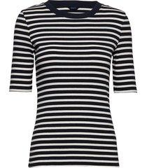 d1. striped rib ss top t-shirts & tops short-sleeved blå gant