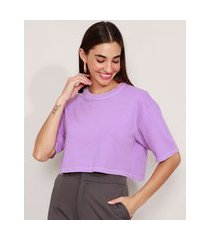 t-shirt oversized cropped de algodão manga curta decote redondo mindset roxa
