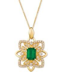 """le vian costa smeralda emerald (1-1/5 ct. t.w.) & nude diamond (5/8 ct. t.w.) 20"""" pendant necklace in 14k gold"""