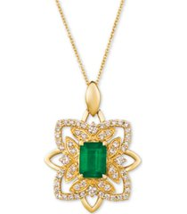"le vian costa smeralda emerald (1-1/5 ct. t.w.) & nude diamond (5/8 ct. t.w.) 20"" pendant necklace in 14k gold"