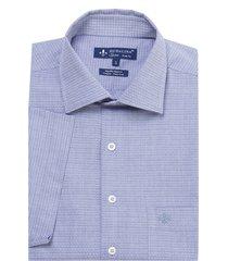 camisa dudalina fio tinto maquinetada masculina (azul medio, 7)