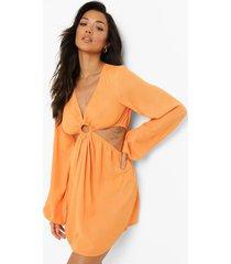 chiffon strand jurk met o-ring detail en uitsnijding, orange