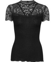 silk t-shirt turtleneck regular ss blouses short-sleeved svart rosemunde