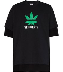 contrasting logo double layer t-shirt