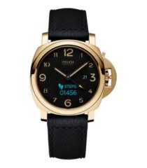 connected men's hybrid smartwatch fitness tracker: gold case with black leather strap 44mm