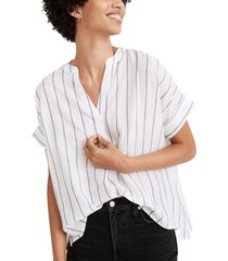 women's madewell philly slub stripe popover top, size large - white