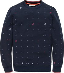 cast iron sweater donkerblauw met print
