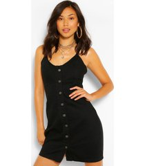 button front denim dress, black