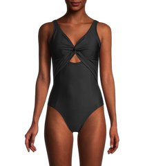 dkny women's twist-front one-piece swimsuit - black - size 16