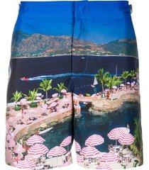 orlebar brown geometric swim shorts - blue