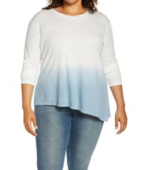 plus size women's caslon dip dye asymmetrical top, size 3x - blue