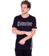 camiseta starter especial recorte lateral preta - kanui