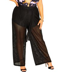 city chic textured mesh wide leg pants, size xx-small in black at nordstrom