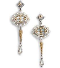 women's etched sterling silver & pearl earrings