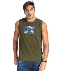camiseta vlcs regata machã£o gola redonda verde - verde - masculino - algodã£o - dafiti