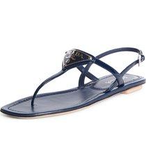 women's prada triangle logo thong sandal, size 10us / 40eu - blue