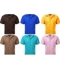 guayabera's men's short sleeve button-front cuban beach dress shirts